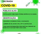 Vacinação Contra Covid-19 para faixa etária entre 30 à 39 anos